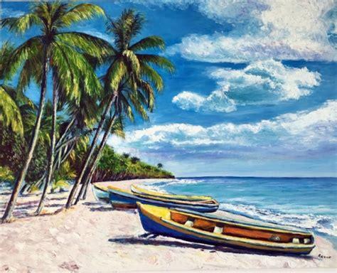 1325292788 couleurs martinique la martinique tableau peinture martinique mer cocotiers barques plage