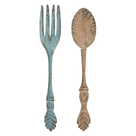 fork and spoon wall decor set of 2 at hayneedle - Wall Decor Spoon And Fork