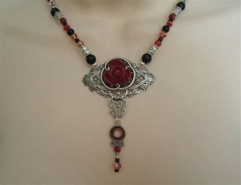 Gothic Chic Decor Rose Necklace Victorian Jewelry Gothic Jewelry Goth