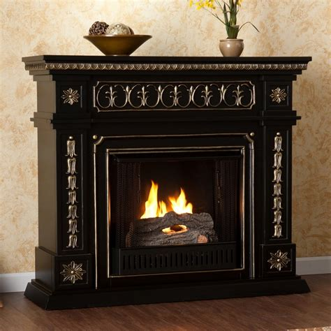 Upton Home Alessia Black Gel Fuel Fireplace Contemporary Modern Fireplace Accessories