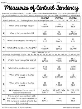 Measures Of Central Tendency Worksheets by Measures Of Central Tendency Coloring Activity By Lindsay