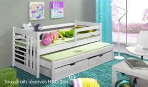 lit gigogne enfant blanc gain de place avec 2 tiroirs de