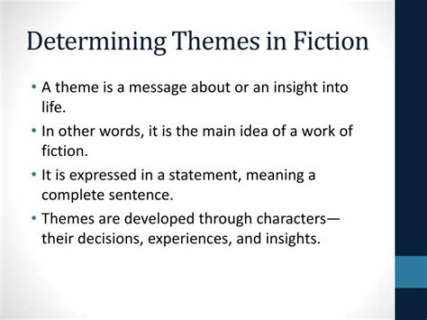 themes in fantasy literature ppt determining themes and central ideas powerpoint