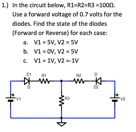 use of diodes in a circuit 1 in the circuit below r1 r2 r3 1000 use a fo chegg