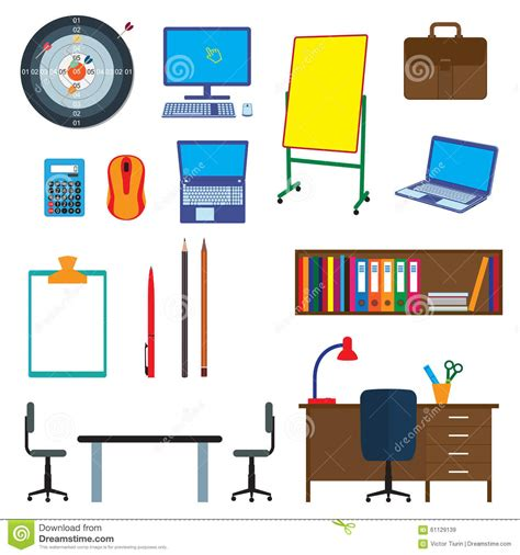 office decor items office items objects office interior stock vector