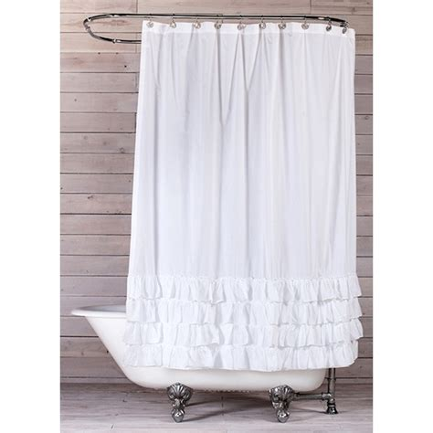 Shower Currains by White Cotton Ruffled Shower Curtain