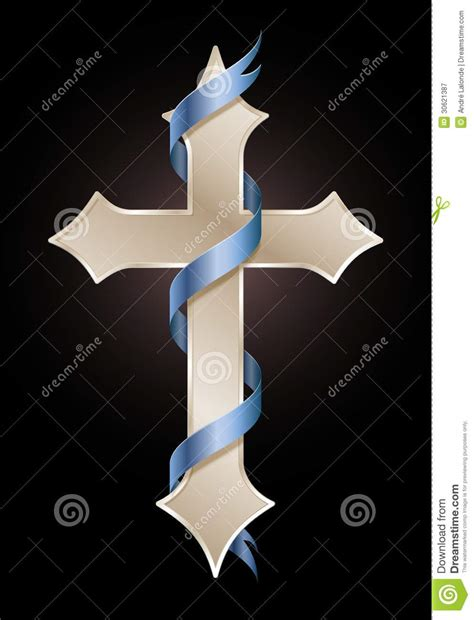 golden cross with blue ribbon stock vector illustration