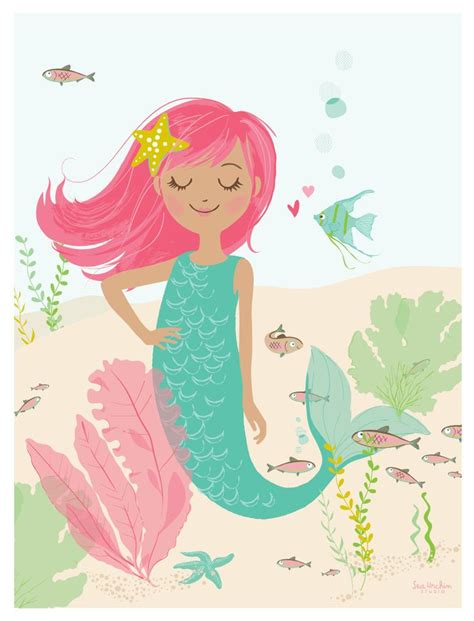 printable mermaid art deep sea cutie 12 quot x 16 quot mermaid poster print nursery