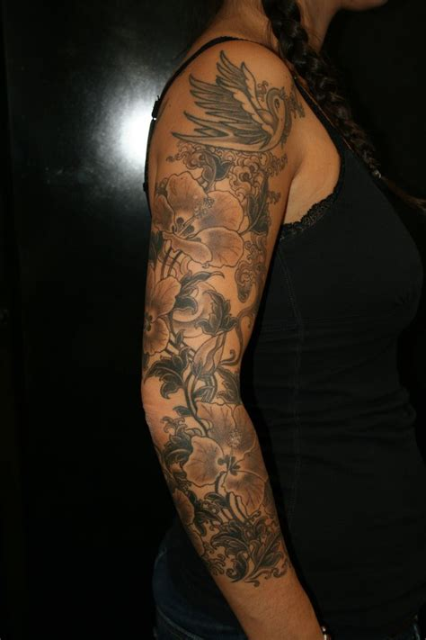 sleeve unique tattoo designs for women flower sleeve