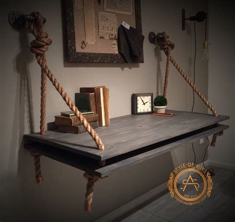 Wall Hanging Desk by 2 Level Rope Pipe Desk Suspended Wood Wall Mounted