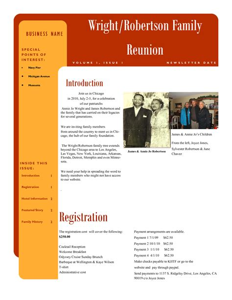 free family reunion letter templates best photos of family newsletter template sles family