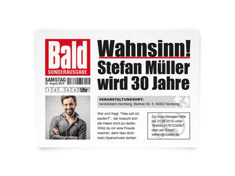 Word Vorlage Zeitung Einladungskarten Einladungskarten Zeitung Mit Bild Zum Geburtstag Ein Designerst 252 Ck