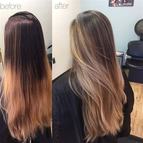 Before And After Ombre Balayage On Dark Brown Color Treated Hair | best 25 golden blonde highlights ideas on pinterest