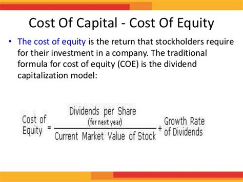 How To Get Into Equity After Mba by Cost Of Equity