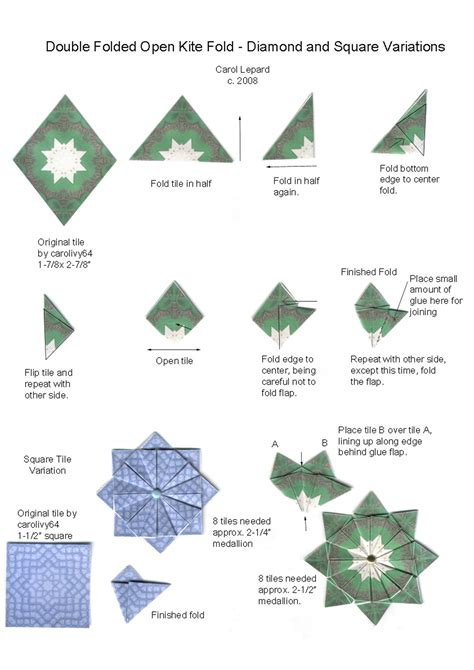 Origami Tea Bag - folded open kite square variations jpg