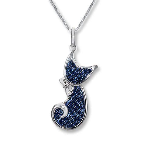 denim cat necklace sterling silver