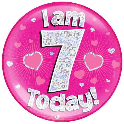 Where To Buy Short Curtains by 7th Birthday Pink Holographic Jumbo Badge Pageant Party