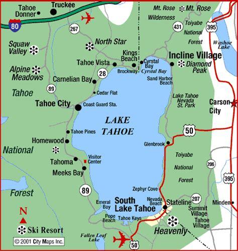 lake tahoe map road map of lake tahoe south lake tahoe california