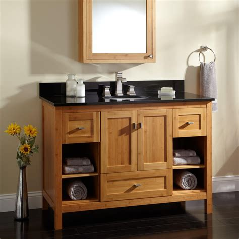 alcott bamboo vanity  undermount sink bathroom