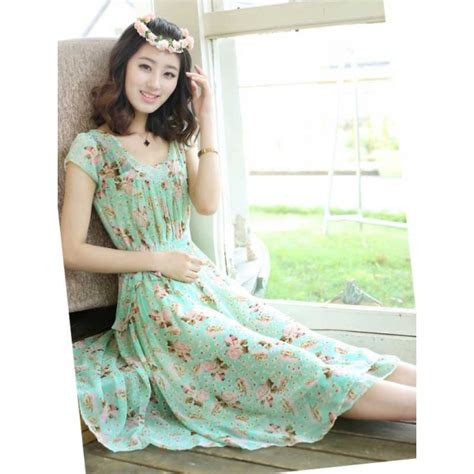 Tkwzqt Dress Motif Bunga Dress Bunga Dress Midi Dress Pesta Selutut midi dress motif bunga d2675 moro fashion