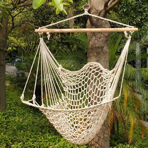 Patio Hammock Chair Deluxe Hanging Cotton Rope Hammock Chair Outdoor Yard Tree Swing Wooden 330lbs Ebay