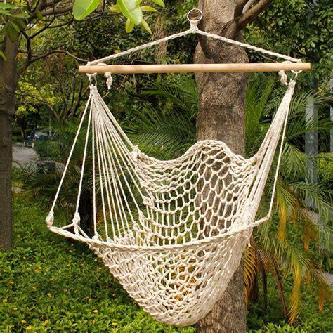 Deluxe hanging cotton rope hammock chair outdoor yard tree swing wooden 330lbs ebay