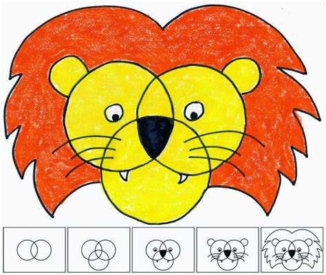 Three Circle Lion Face   Art Projects for Kids
