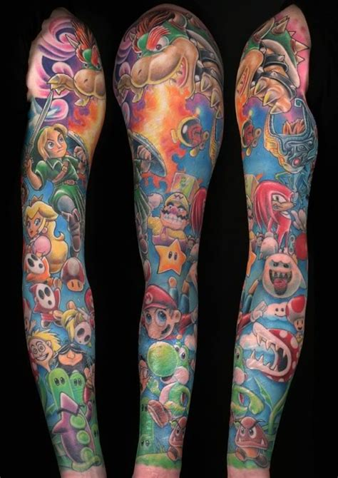 nintendo sleeve tattoo designs 66 mario tattoos