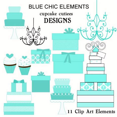 blue chic clip art elements great  invitations cards