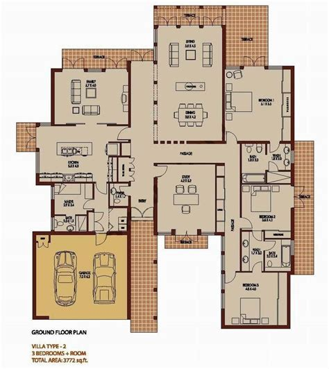 Appartment Floor Plans 3 bedroom 3772 sq ft saheel arabian ranches dubai