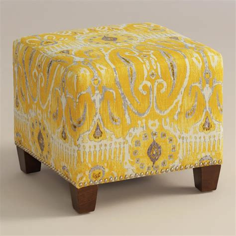 Yellow Ottoman Modern Alessandria Ottoman Yellow Fabric Contemporary Footstools And Ottomans