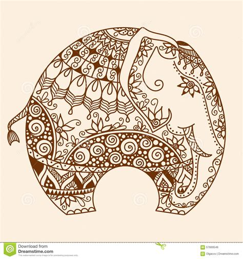 indian elephant henna tattoo vector henna mehndi decorated indian elephant stock vector