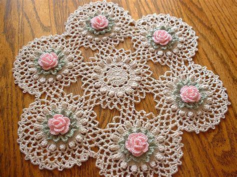 Handmade Doilies - new handmade pink pin crochet doily 12 quot 25 00