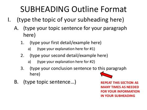 sentence for section informational essay leads claims subheading outline