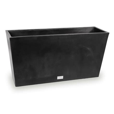 Veradek Midori 31 In X 9 In Black Trough Plastic Planter Black Rectangular Planter