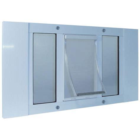 large white aluminum pet door
