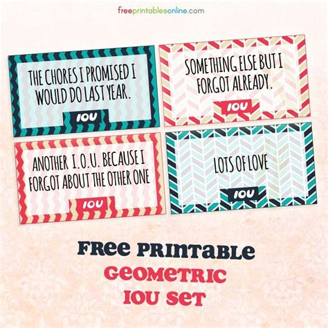 iou card template geometric printable iou coupons free printables