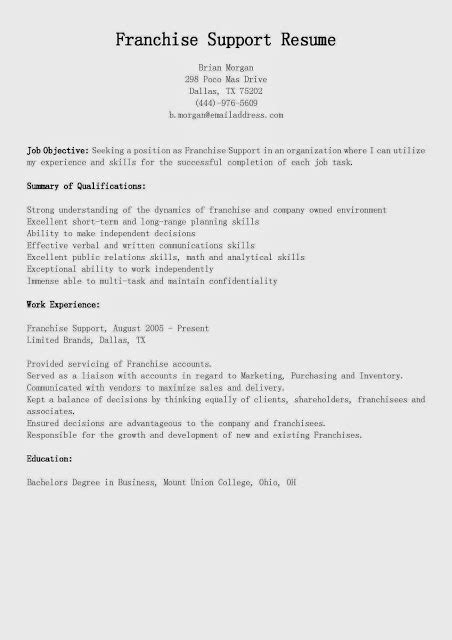 Franchise Support Cover Letter by Great Sle Resume Resume Sles Franchise Support Resume