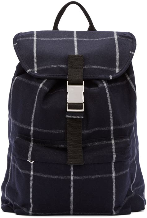 plaid buckled backpack a p c navy wool plaid snap buckle backpack in blue for