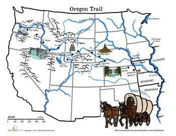 map of the oregon trail with landmarks oregon trail map the wagon of 1843