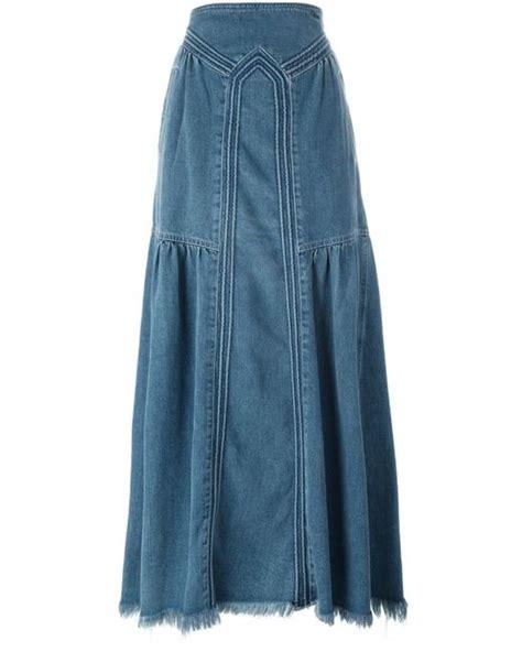 chlo 233 maxi denim skirt in blue lyst
