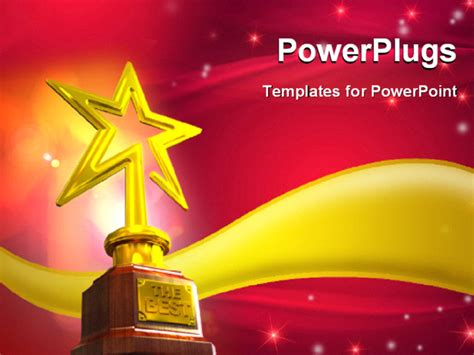 Powerpoint Template Gold Star Trophy Placed Over A Golden Wave With Glowing Stars And Flares On Award Template Powerpoint