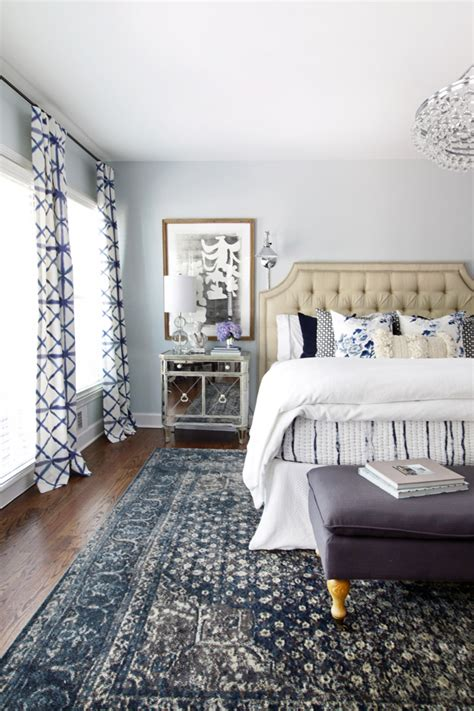 bedroom rug inspired by blue patterned statement rugs the inspired room