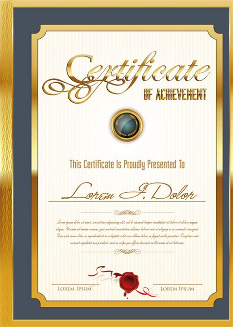 certificate design ai file free download golden frame certificate template vector 04 vector cover