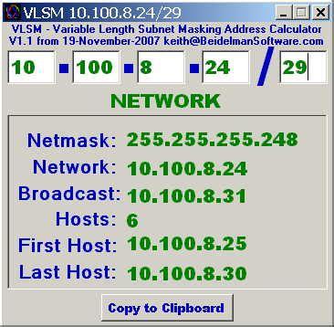 calculator network address beidelman software
