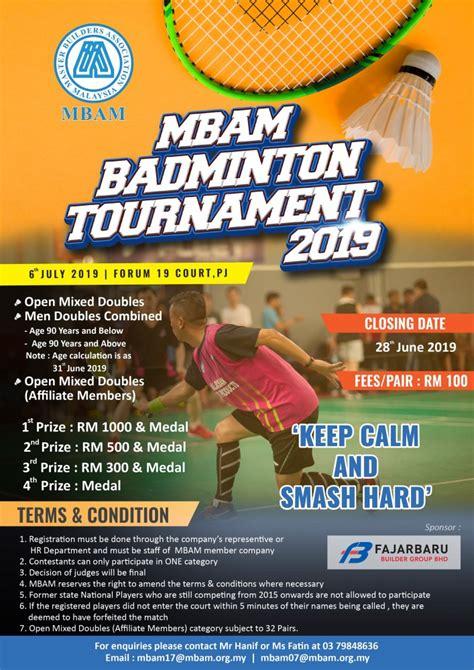 mbam badminton tournament  master builders