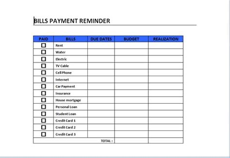 Bill Payment Record Template by 5 Best Images Of Free Printable Bill Payment Template