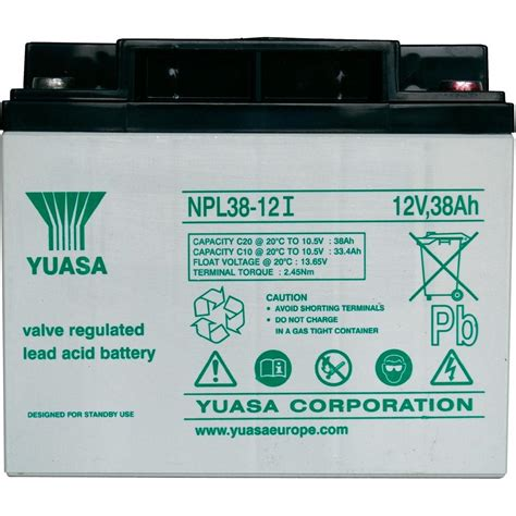 inductor l38 yuasa npl38 12 lead acid battery 12v 38ah