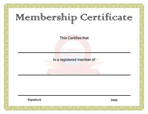 Free Membership Card Template by 30 Free Printable Certificate Templates To