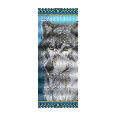 wolf beaded bookmark bead pattern wolf cuff bracelet square loom or peyote